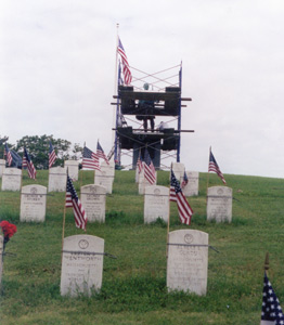 Staging around the Word War I Monument while it was being restored